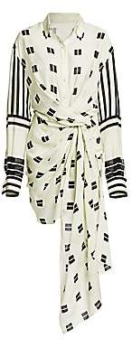 Oscar de la Renta Women's Geometric-Print Tie-Waist Shirt Dress