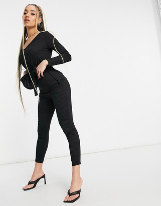 Club L London ribbed fitted pants set in black