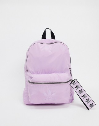 adidas backpack in lilac with trefoil zip pull