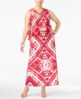 NY Collection Petite Plus Size Printed Popover Maxi Dress