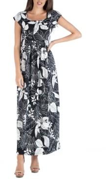 24seven Comfort Apparel Empire Waist Scoop Neck Floral Print Maxi Dress