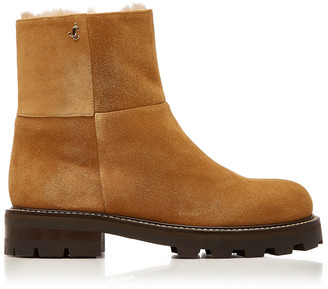 Jimmy Choo Haysel Shearling-Lined Suede Ankle Boots