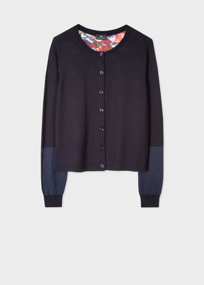 Paul Smith Women's Navy Wool-Blend Cardigan With 'Marble Floral' Back