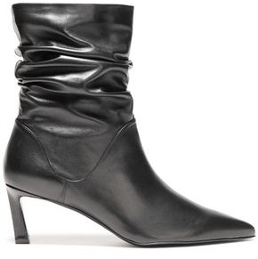 Stuart Weitzman Gathered Leather Ankle Boots