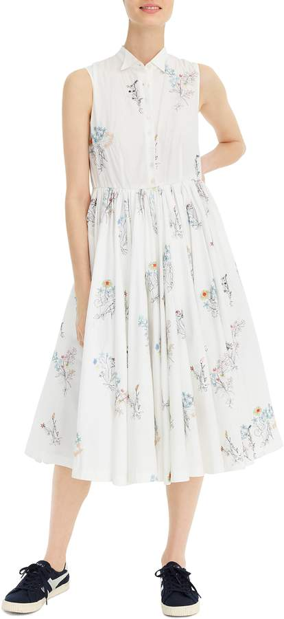J.Crew Sleeveless Embroidered Poplin Shirtdress