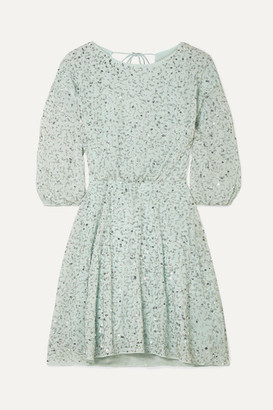 Alice + Olivia Alice Olivia - Palmira Embellished Chiffon Mini Dress - Mint