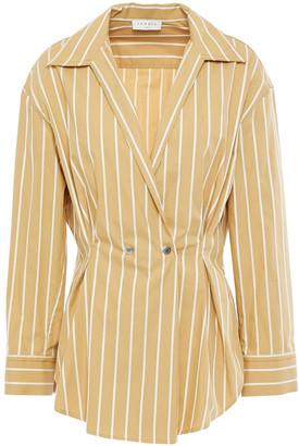 Sandro Mathilde Double-breasted Striped Cotton-poplin Wrap Shirt