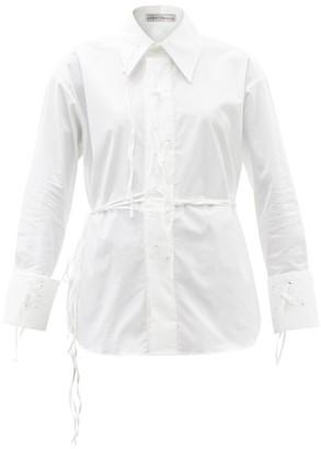 Palmer Harding I Love You Braille-eyelet Cotton-blend Shirt - White