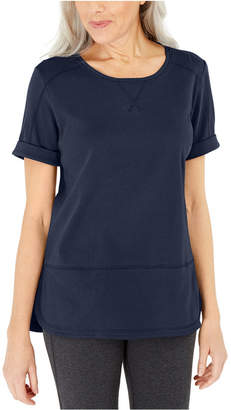 Karen Scott Cotton Topstitched Top