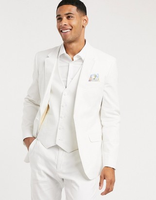 ASOS DESIGN wedding skinny suit jacket in stretch cotton linen in white