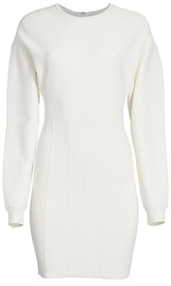 Herve Leger Puff-Sleeve Sweater Dress