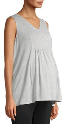 Time and Tru Maternity Sleeveless Smocked Front Tank