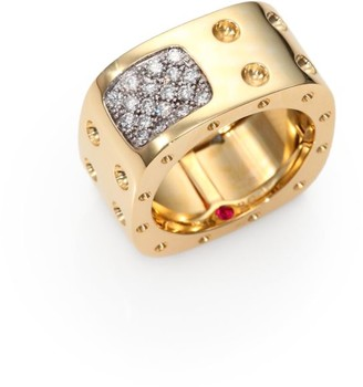 Roberto Coin Pois Moi Diamond & 18K Yellow Gold Two-Row Square Ring