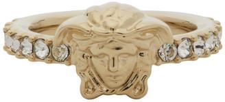 Versace Gold Medusa Head Crystal Ring