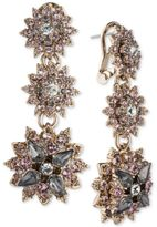 Marchesa Gold-Tone Crystal Cluster Triple Drop Earrings