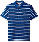 Lacoste Men's Short Sleeve Striped Mini Pique Regular Fit Polo, PH3150