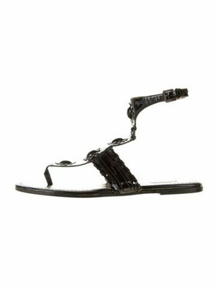 Alaia Patent Leather Studded Accents T-Strap Sandals Black