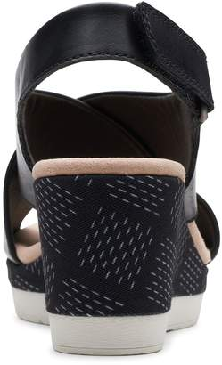 Clarks Cammy Pearl Wedge Sandals - Black
