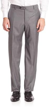 Isaia Flat-Front Dress Pants