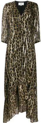 BA&SH Leopard Print Flared Maxi Dress