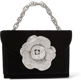 Oscar de la Renta Tro Crystal-embellished Velvet Shoulder Bag - Black