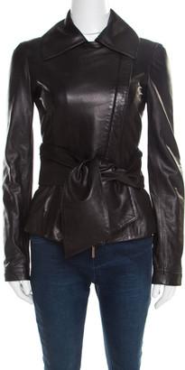 Elie Saab Black Lamb Leather Waist Tie Detail Biker Jacket S