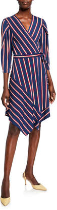 BCBGMAXAZRIA Striped V-Neck Handkerchief Wrap Dress