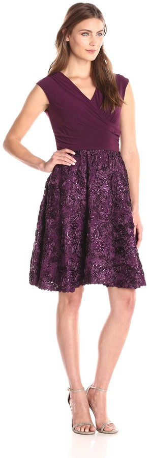 Marina Women's Cap Sleeve ITY Dress with Mock Wrap Bodice and Laser Cut Scallop Soutache with Beading Skirt