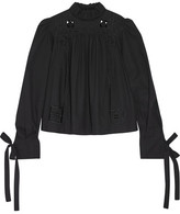 Isabel Marant Skara Broderie Anglaise-trimmed Cotton-poplin Blouse - Black