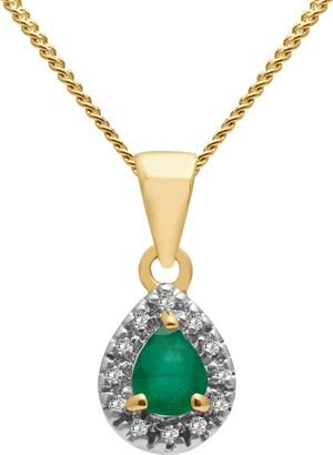 A B Davis 9ct Gold Precious Stone and Diamond Teardrop Pendant Necklace