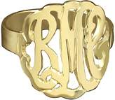 14K Yellow Gold-Plated Personalized Curved Monogram Ring