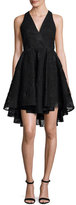 Milly Cynthia Sleeveless Organza Fit-and-Flare Mini Dress, Black