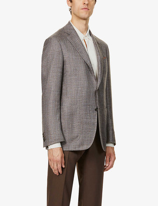 Canali Hopsack regular-fit wool, silk and linen-blend blazer