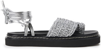 3.1 Phillip Lim Braided Metallic Leather Platform Sandals