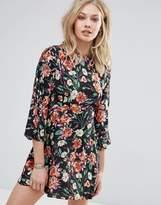 MANGO Floral Ruffle Sleeve Smock Dress
