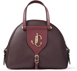 Jimmy Choo VARENNE BOWLING/S Bordeaux Calf and Vacchetta Leather Bowling Bag with Gold JC Logo
