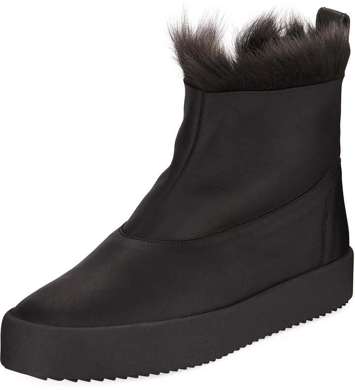 Giuseppe Zanotti Men's Fur-Top Ankle Boots