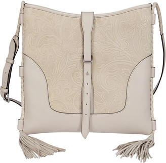 Etro Beige Leather And Cotton Tote Bag