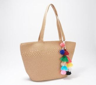 Women With Control Attitudes by Renee Straw Bag with Tassel Detail