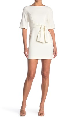 Alice + Olivia Virgil Boatneck Short Sleeve Tie Waist Mini Dress