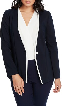 Chaus One-Button Contrast Trim Jacket