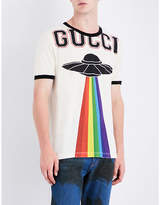 Gucci Rainbow Ufo-print Cotton-jersey T-shirt