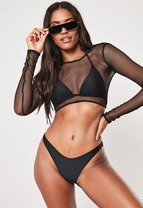 Missguided Black Mesh 3 Piece Bikini Set