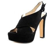 Alexandra 1524 Women Open Toe Suede Black Platform Heel.