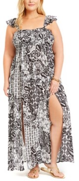 Raviya Plus Size Printed Smocked-Top Maxi Cover-Up Dress Women's Swimsuit