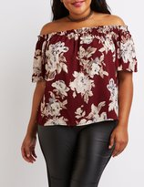Charlotte Russe Plus Size Floral Off-The-Shoulder Top