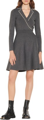 Sandro Fit & Flare Long Sleeve Sweater Dress