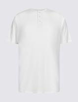 M&S Collection Pure Cotton Henley Crew Neck T-Shirt