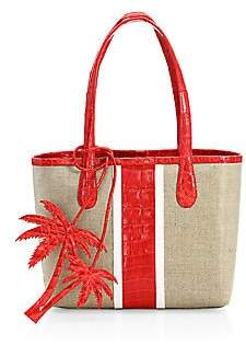 Nancy Gonzalez Women's Tina Craig x Mini Erica Linen & Crocodile Tote