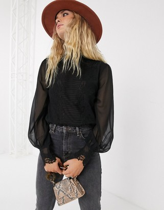 Topshop blouse with sheer sleeves in black
